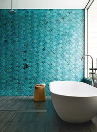 bathroom interior design_turquoise backsplash_fish scale tile_mermaid mood board