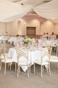 blush pink and gold reception decor