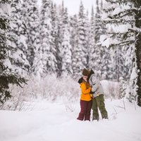 Engagement shoot at Powder King Mountain Resort  by Kelowna Wedding Photographer Photos by Pala Mikayla