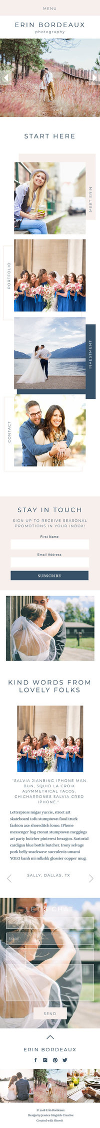 Erin Bordeaux Showit Website Template Mobile