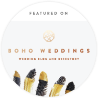 boho weddings featured on badge logo