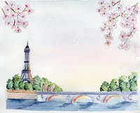 paris watercolor print souvenier