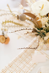 a table top decorated in neutral colors