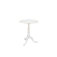 Vintage, white distressed, scalloped end table.
