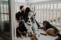 couple kissing with dogs