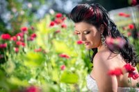 Bridal portrait in the garden at Wildberry Farm in Marion, SC