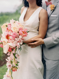 Big Petal tropical pink and coral bridal bouquet