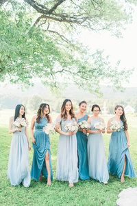two tone blue bridesmaid dresses