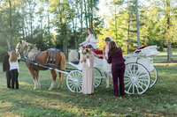 Stacy assisting a bride and groom in a horse carriage