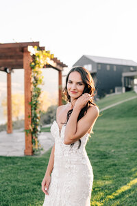 Portrait of bride during sunset wedding at The Lookout in Chelan, WA