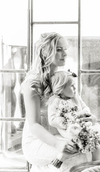 Wedding photographer stockholm helloalora bride and flower girl with matching bouquets