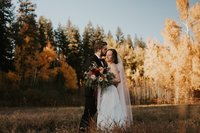 Beautiful couple at their fall wedding at Mountain Spring Lodge in Leavenworth by Sarah Anne Photo