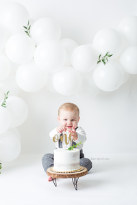 Baby Smashing all white cake