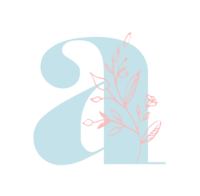 Blue lowercase A with pink floral outline