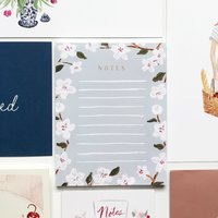 blue cherry blossoms notepad