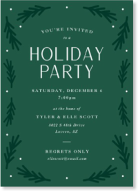 green garland holiday party invitation