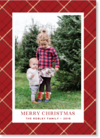 red plaid frame Christmas photo card