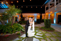 bride and grrom at the cooper house in myrtle beach, south carolina