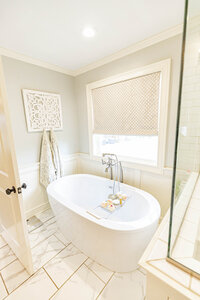 White master bathroom renovation and design by Moda Designs