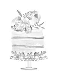 watercolor wedding cake illustration
