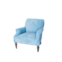 Beautiful velvet blue chairs with oak distressed legs.