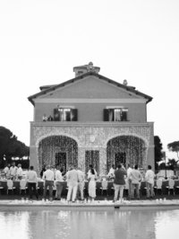 cocktail hour at villa di fiorano wedding photos by Leila Brewster