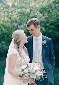 Birmingham Alabama couple candid wedding portraits outside