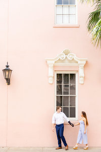 pink walls in downtown charleston for engagement session