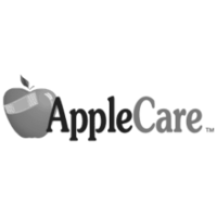 A grayscale logo for AppleCare.