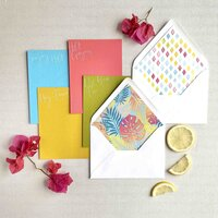 bright greeting cards with envelopes