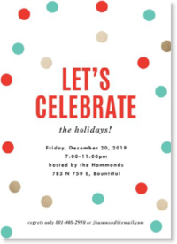 Christmas confetti holiday party invitation