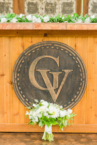 Ivory and green wedding bouquet at a Gervasi Vineyard wedding photographed by akron ohio wedding photographer