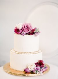 Simple Fresh Pink Floral Wedding Cake