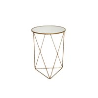 Gold frame geometric accent table with glass top and triangle base.