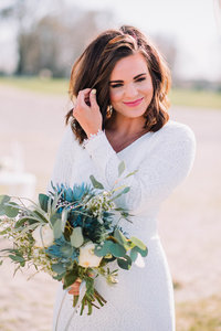 bride with bouquet idaho wedding