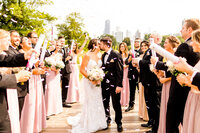 Bridal party with confetti at lincoln park in chicago
