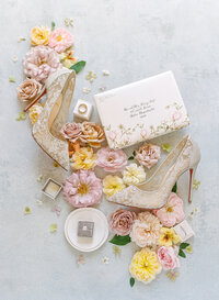 Bridal shoes for a San Francisco wedding at the Fairmont Hotel