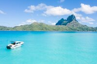 View on the mount Otemanu during a boat trip in Bora Bora