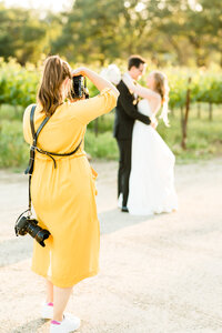 Behind the scenes photo of Los Angeles wedding photographer
