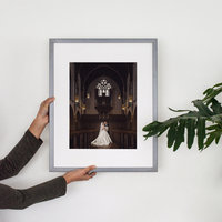 Framed heirloom art of wedding couple