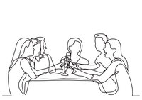 continuous-line-drawing-company-of-friends-dining-in-restaurant