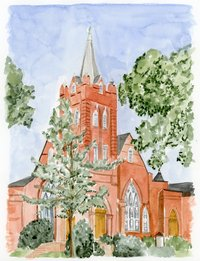 Watercolor Venue Painting Presbyterian Church