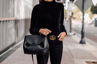 Fashion-Jackson-Wearing-Black-Chenille-Mock-Neck-Sweater-Black-Skinny-Jeans-Black-Gucci-Belt-Black-Satchel-Handbag