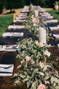 Dinner tables for a backyard wedding in Gilroy