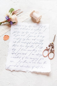 Handwritten custom wedding stationery