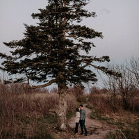 Couple standing by large tree during engagement session with Asheville wedding photographers.