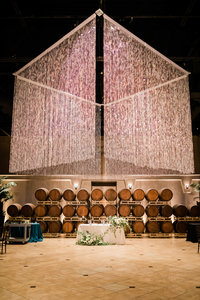 The reception of Palm Event Center gives the couple an option to have the grand light fixture.