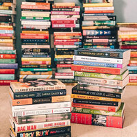 Stacks of book titles and recommendations for readers