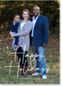 vertical script holiday photo card