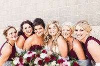 bridal party, wine bridesmaid dresses
